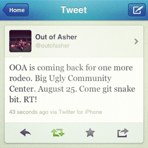 August 25th. Share, tweet, retweet, repeat. #gitsnakebit (Taken with Instagram)