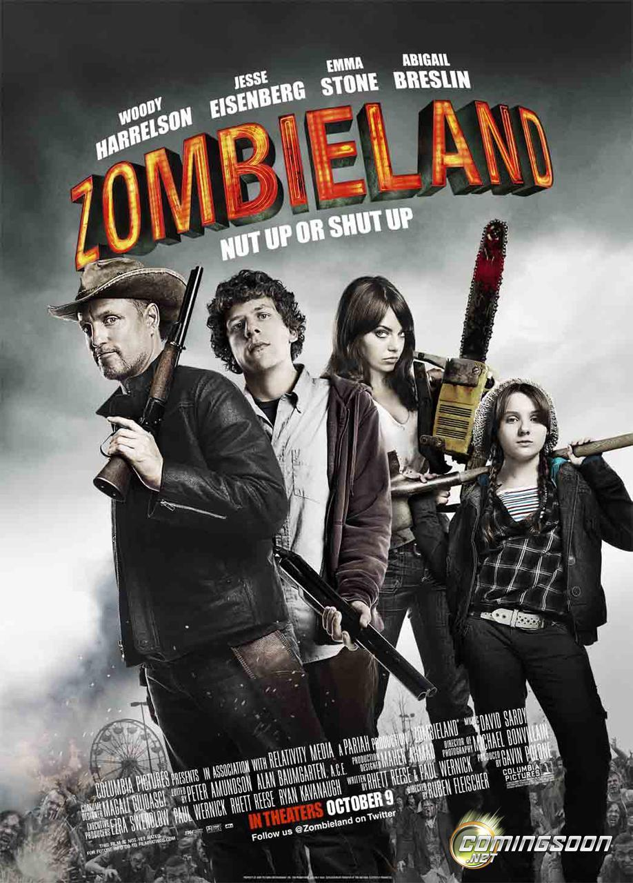 Zombieland is a 2009 American zombie comedy film directed by Ruben Fleischer from a screenplay written by Rhett Reese and Paul Wernick. The film stars Woody Harrelson, Jesse Eisenberg, Emma Stone, and Abigail Breslin as survivors of a zombie apocalypse.