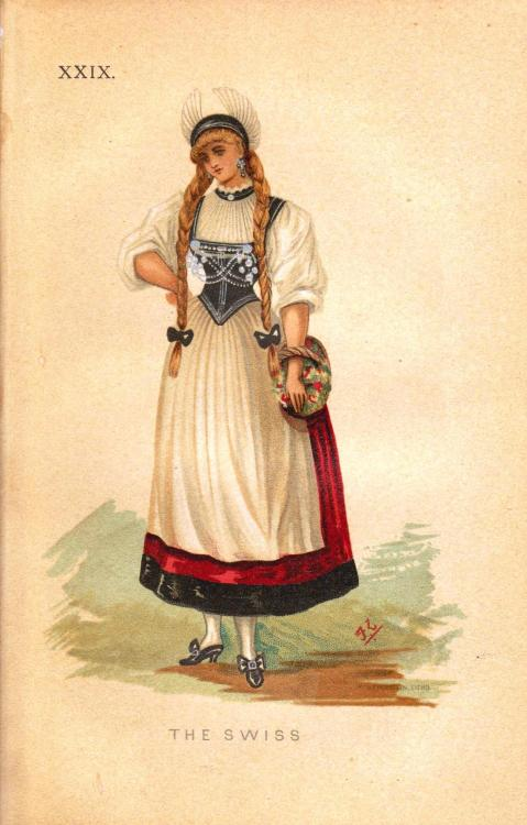 The Swiss, from Fancy Dresses Described; or What to Wear at Fancy Balls by Ardern Hold, 1882.