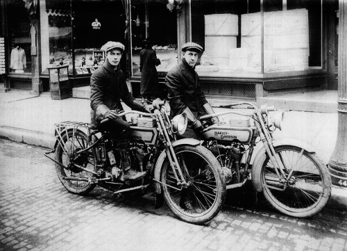 Two Harley-Davidson bikers, c. 1920's