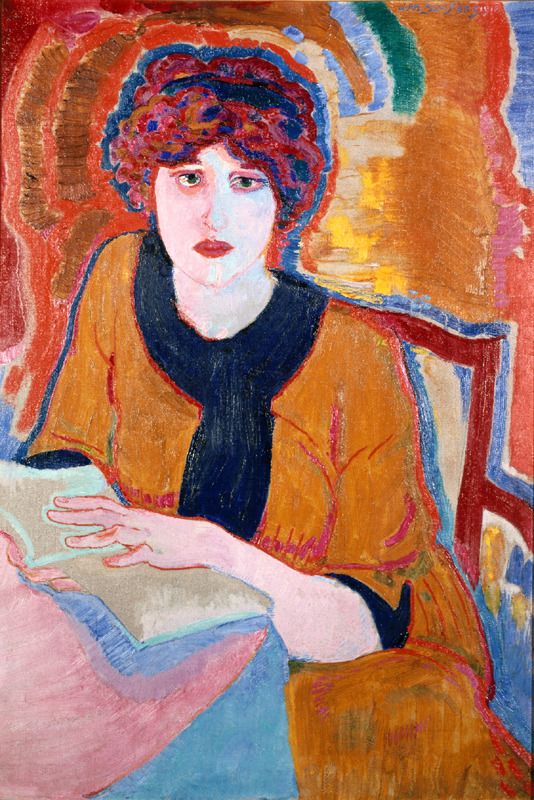 deadpaint:  Jan Sluijters, Woman Reading  Sluijters (Dutch, 1881-1957) had contact in Paris with the work of Neo-Impressionists, Fauvists and such painters as Henri de Toulouse-Lautrec and Kees van Dongen which resulted in dynamic modern work and made him a pioneer of modernism in the Netherlands. He assimilated the French influences into a divisionist style, characterized by an expressive use of bright dots, lines and blocks of colour corresponding to the artist's personal view. It was this form of divisionism, of which the chief representatives were Sluijters, Piet Mondrian and Leo Gestel, that brought about the breakthrough for Amsterdam's avant-garde painters. The new French colour was used in even more concentrated form in a number of figure paintings from 1911, made up of larger planes with clearly defined outlines, for example Woman Reading.