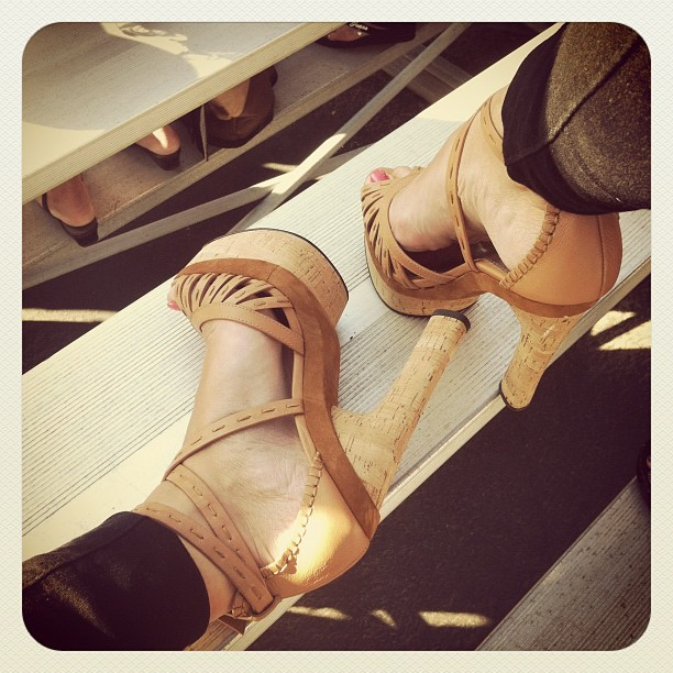 Up in the bleachers. #heels #shoes #bebe (Taken with Instagram at Harry A LeBard Stadium)