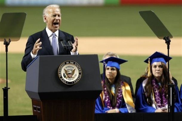 And then, in the middle of his commencement address, the Vice President remembered that time in high school when he punked out and didn't ask Sally Kushner to dance. Without warning, he erupted in a scream of long past regret.