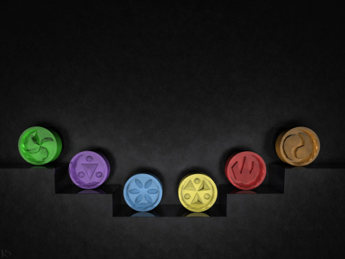 saveroomminibar:  The Legend of Zelda: Ocarina of Time. Sage Medallions by SugaSuga42