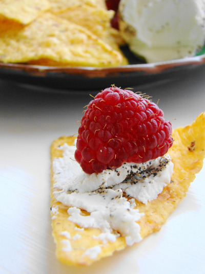 "Peppered ""Goat"" Cheese with Raspberries on Flickr.There you go."