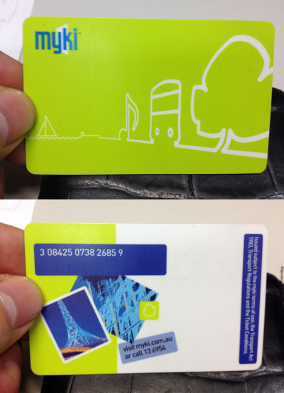 Melbourne's myki cards: the design matches their usefulness