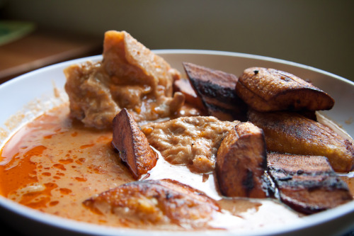 Plantain with groundnut soup/peanut butter soup and goat meat