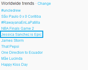 jsanchezfan:  You say your blujays are epic? YOU'RE EPIC! Look what we trended for you baby girl<3 Jessica Sanchez is Epic! :) It trended in 5min.. & became 5th worldwide in less than 10min. WE DO IT BIGGG!