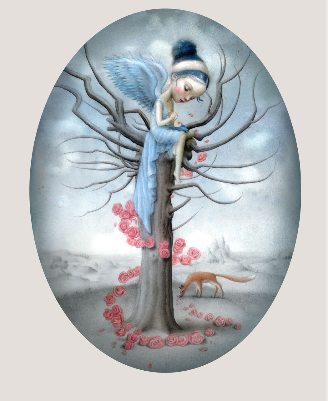 "fairytalemood:  ""Blue Bird and Fox"" by Nicoletta Ceccoli"