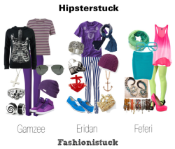 fashionistuck:  Submission~ Gamzee, Eridan, Feferi: Hipsterstuck Buy Items (via dave-brotherfucking-strider)