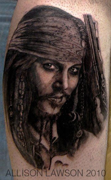 Captain Jack Sparrow Tattoo by Allison Lawson. http://allisonlawson.tumblr.com