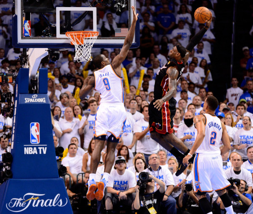 nba:  June 14, 2012 - NBA Finals Game 2: Miami Heat at Oklahoma City Thunder. (Photo by Ronald Martinez/Getty Images)