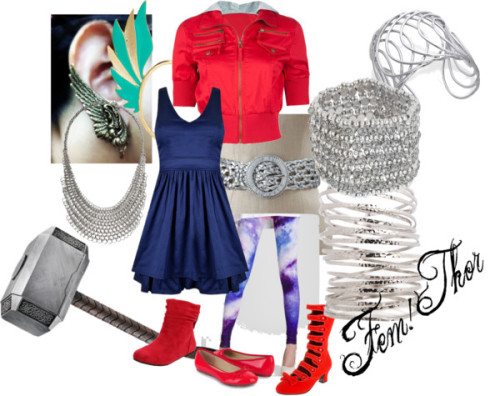 Fem!Thor by sparkly-slug featuring bow shoes god damn it all, polyvore's totally sucked me in