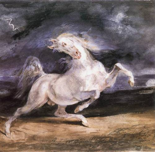 phassa:  Delacroix, Eugéne - Horse Frightened by a Storm