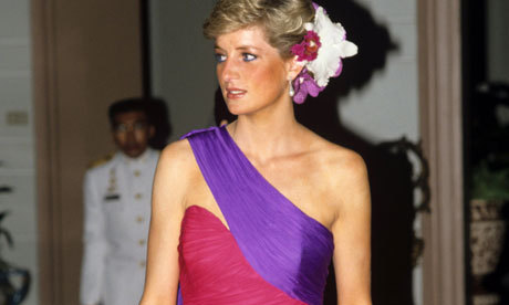 Lady Di looking perfect in a fuchsia and royal purple Catherine Walker gown during a 1988 official visit to Thailand. Obviously the statement piece would be best complemented by matching floral hair accessories.