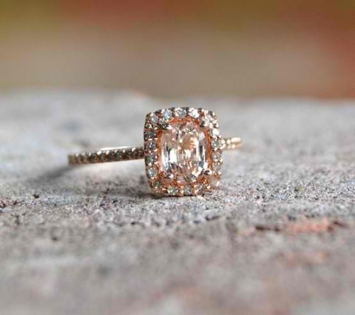 rhinestonesandlace:  tilwesayido:  peach sapphire engagement ring…. beautiful  >