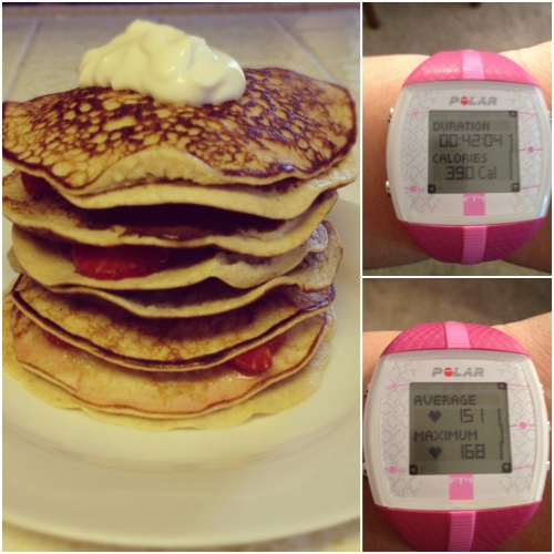 I was in the mood for pancakes & I decided to try this recipe posted by Theresa although I modified it a bit.    1/3 cup of rolled oats 5 egg whites 1 scoop of vanilla whey protein powder 1 banana 1 tbsp of plain greek yogurt 1 tbsp of peanut butter with roasted flaxseeds Cinnamon to taste  I blended everything and then poured the batter on a heated pan which I sprayed some PAM on.  It actually made 9 pancakes but I ate the first one to try. Gotta do a taste test. For the topping, I took an additional tablespoon of greek yogurt & I added some stevia (1/2 packet),added more cinnamon and whipped together.  I also added strawberries (1/2 cup) between pancakes.  The size of each pancake was roughly the size of my palm.   They came out very tasty, fluffy & very filling.  If I make these again, I will try to reduce the recipe by half since it took me a while to finish them.  I was so full I had to wait a while to work out.  This is all one portion which came out to 10 PP+ or 488 calories.   After 5 days of not working out, I did the Turbo Jam Cardio mix.  I am finally feeling better.  It's hot here in the Bay Area and I was a sweaty mess after it.  I have to figure out what my target heart rate should be when working out but so far I am liking my Polar F4T. I just need to figure out how to stop it from beeping all the time.   My plan for tomorrow is to Zumba in the morning & hit the gym in the afternoon.  Hopefully this will happen.