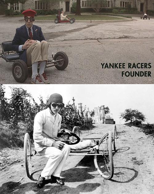 cinemastatic:  Jason Schwartzman in the Yankee Racers in the film Rushmorecompared toJacques Henri Lartigue's famous photograph of 'Zissou's bobsled with wheels, after the bend by the gate'