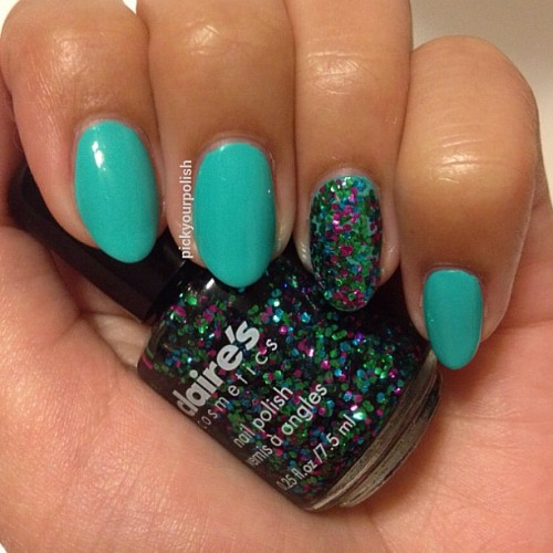 Turquoise polish came from the Claire's Shine Bright set and the glitter from Precious Metals (Taken with Instagram)