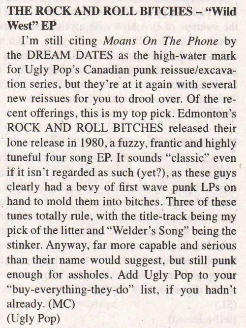 Rock'n'Roll Bitches EP review from MRR #350. Also made two Top Ten lists.