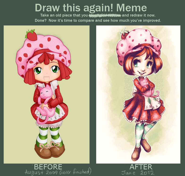 "I never finished or published the August 2009 Strawberry Shortcake drawing. I remember that I was home sick, and I shared progress pictures via Twitter (on TwitPic), but I abandoned the project because something was wrong and I couldn't work out how to fix it. Now I see it - it's her face. What is wrong with her faaaace? Now I'm home sick again with super fun happy virus, so I tried again. I guess that makes this a Draw This Again meme. The 2009 picture was ""inked"" in Adobe Illustrator as I was trying to learn more Illustrator things at the time. Original Before and After meme template by Bampire. Full view of Strawberry Shortcake (2012)"