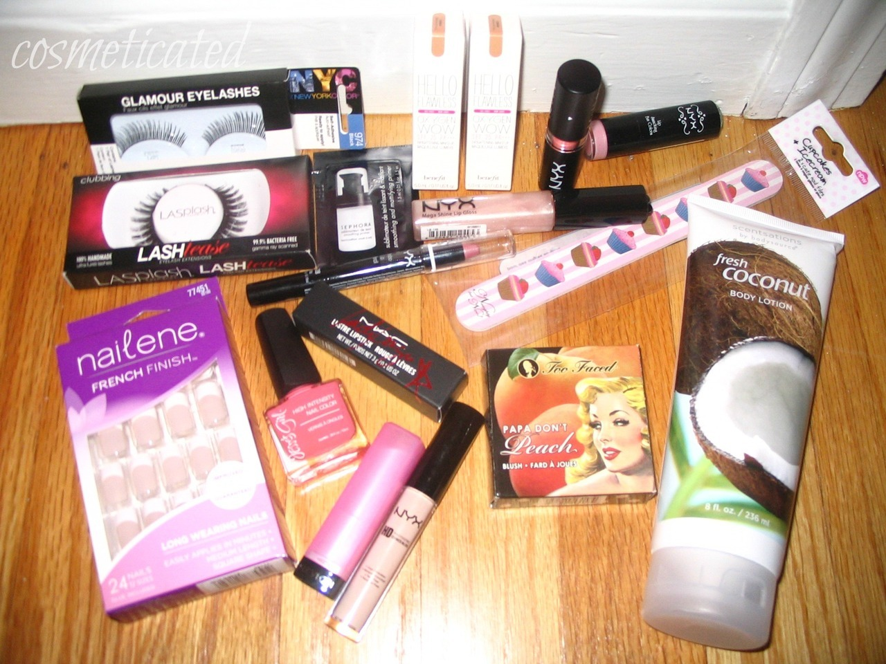 cosmeticated:  COSMETICATED BEAUTY GIVEAWAY I just recently hit 19K so I want to do a giveaway. RULES: MUST BE FOLLOWING ME. I WILL CHECK!!!! - http://cosmeticated.tumblr.com/ MUST BE FOLLOWING ME ON INSTAGRAM (VALERRRRRIE) if you have one Reblog as MANY times as you'd like. LIKES DONT COUNT I WILL PICK THE WINNER JULY 14th USING A RANDOM GENERATOR. WILL SHIP ANYWHERE *If people aren't following rules…I'll have no problem canceling the giveway PRIZES- 2 Boxes of false lashes - NYC & LA SPLASH 1 box of fake press on nails Jesse Girl nail polish in JULIEG 2 sample boxes of Benefit Hello Flawless Brightening Makeup in shade Honey Sample of Sephora primer Revlon Lip Butter in Cupcake NYX Matte Lipstick in Hippy Chic NYX Lipstick in Baby Pink NYX Lipgloss in Baby Rose NYX HD concealer in Light NYX Jumbo Lip Pencil in Iris Lady Gaga Mac Lipstick Too Faced Papa Dont Peach blush Coconut body lotion Cupcake nail file