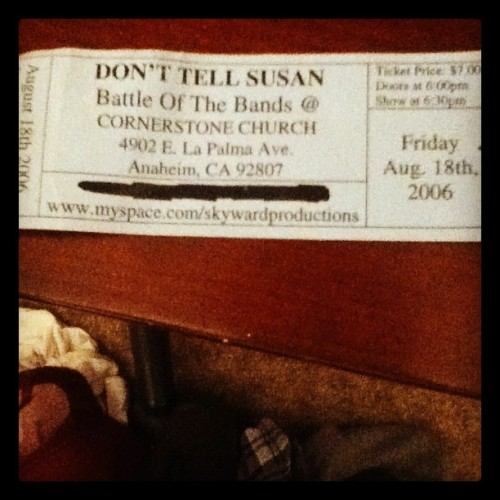 It's a ticket to when old band got second place in battle of the bands… Cos we brought the mosh!!! #throwbackthursday #donttellsusan (Taken with Instagram)