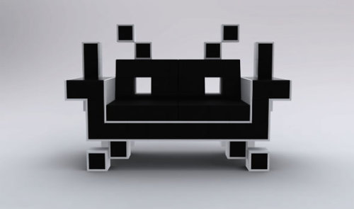 "justintr: imprecise: ""It is definitely not a conventional couch! The ""Space Invader Couch"" was designed by Igor Chak. It is essentially made with leather and two glass surfaces. Although, it looks geometrical (which may hint not too comfy), the sitting is actually soft because it is lined with memory foam."""