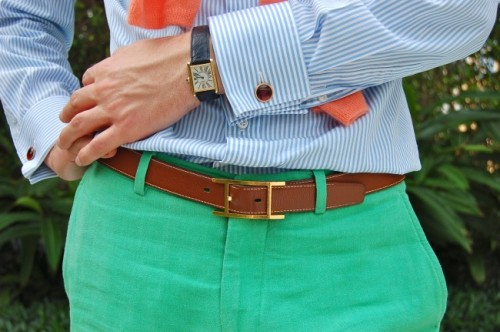 French cuff & summer colors.