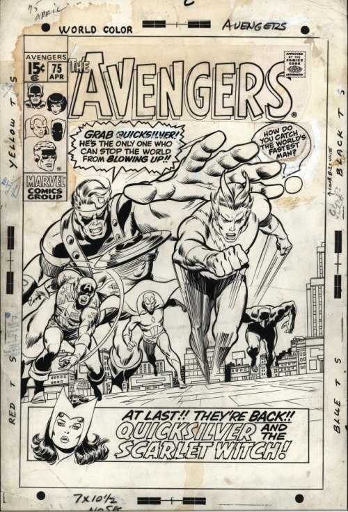 Here's the cover to AVENGERS #75 by John Buscema and presumably Tom Palmer—not sure about the inking credits, as these don't entirely look like Palmer's work to my eye. There is a production note in the margin: INKER: LEAVE CAP MORE OPEN. LESS BLACK ON CHEST. Also, a note to the Goliath head in the corner box asks to correct it to: NO SMILE—GRIM