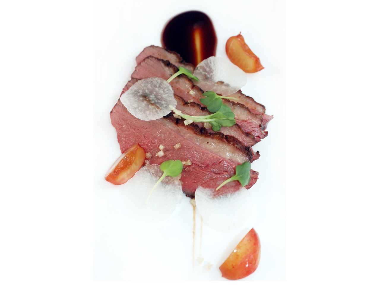 FIVE-SPICED DUCK BREASTcherry hoisin - daikon - ginger salt - pickled cherriesHad some leftovers and was messing around…