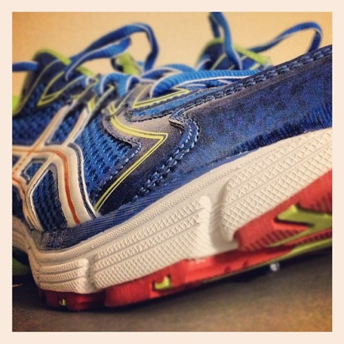 New #running #shoes!!  All you are going to see is a #neon #green and #blue streak! #asics  (Taken with Instagram)