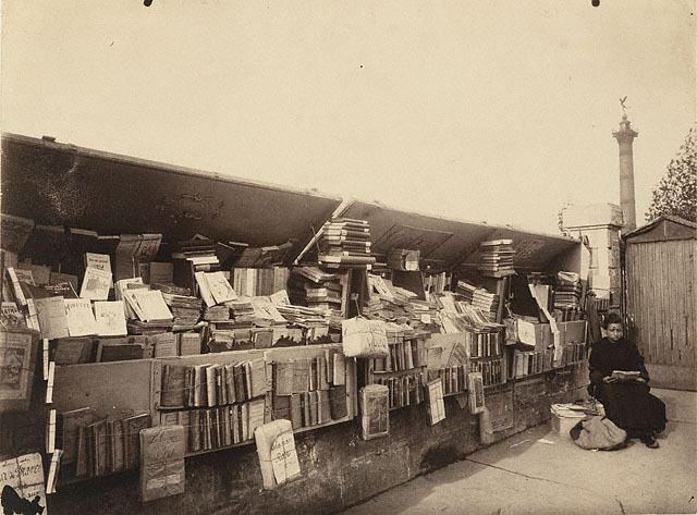 invisiblestories:  Eugene Atget, Secondhand Book Dealer, Paris (1910)