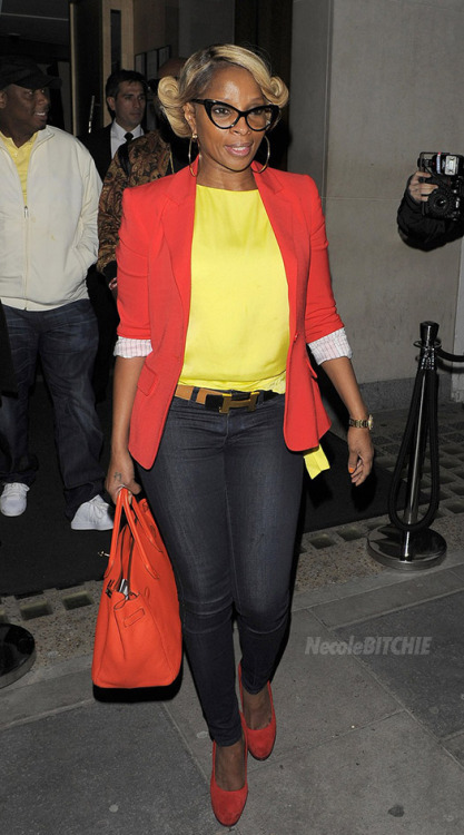 Mary J. Blige hit the London streets as she headed to promo appearances for her new role as a gentleman's club owner in the film, Rock Of Ages.