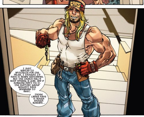 desidesidesi:  adventuresofcomicbookgirl:   Mechanic Thor: I just wanted to apologize for the delay. I thought I'd have it ready yesterday but the church hall's roof sprung a leak, and if someone didn't fix it, the support group wouldn't have had anywhere to meet! Those ladies have it rough enough already…  Meanwhile Thor is reincarnated into the WORLD'S NICEST MECHANIC. He'll give you a ten percent discount because he's a day late with your car because he had to fix church roofs for free and then he'll go and fix buses for orphans. No, that's actually what happens. Because THOR IS THE NICEST. Also his hat has a heart on it. Sif is a mixed martial arts instructor Loki is afraid of, Leah is his still-just-as-cutting foster sister and Hela is his foster mom even though she still looks like a zombie, nobody seems to notice.   Waaaaait wait wait wait wait.  Thor's a mechanic?  Like… this guy from Adventures in Babysitting   Who was mistaken for Thor by the main little girl and given his Helmet?  I'm…. really kinda wondering if that was done on purpose now. o 3o  It was. When they call him Thor, he responds HAHA YES BIG BLONDE MECHANIC IS THOR WE'VE ALL SEEN THAT MOVIE IT'S REALLY OLD >:| I was wondering what he was referring too now i know.