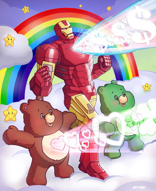 Epic Team Ups: Iron Man and Care Bears by Marco D'Alfonso / m7781 This epic team-up in Geekdom History is brought to you by friendship, huggsies, and ridiculous fuck-tons of moneys.  Artist: deviantart / tumblr / shop