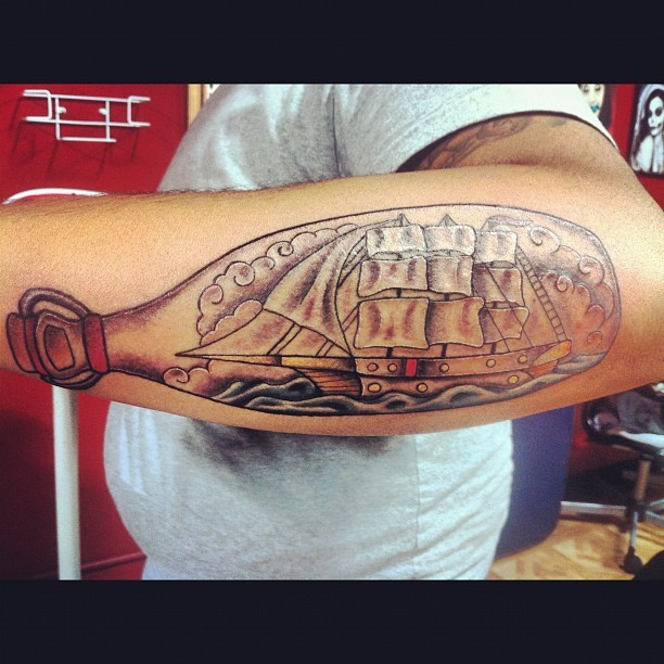 Ship in a bottle tattoo done! Thanks @jasongallego #hurtswelltattoo  (Taken with Instagram)