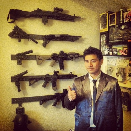 Suitjamas. Gun wall. Yep. #suitjamas #airsoft #awesome #legendary #brocode #self #me #guns #suitup #tactical #suit #instawesome (Taken with Instagram at Outer Heaven)