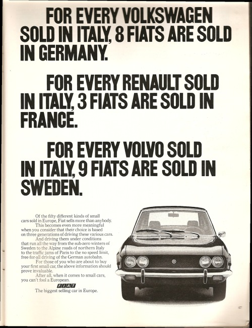 vintagelounge:  Fiat. Ad from Playboy, May 1971.