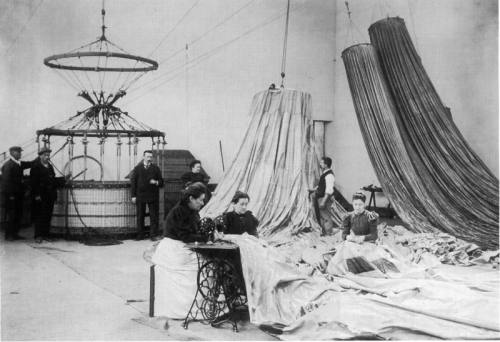 The balloon factory of Henri Lachambre, Paris, 1890s.