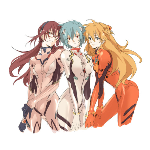 3girls aqua eyes ayanami rei blue eyes blue hair bodysuit brown hair evangelion: 2.0 you can (not) advance glasses gori matsu hairband hand on thigh leaning forward long hair makinami mari illustrious multiple girls neon genesis evangelion orange hair plugsuit rebuild of evangelion red eyes shikinami asuka langley short hair simple background skin tight smile souryuu asuka langley standing wink