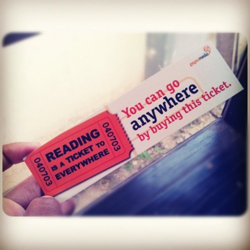 #reading #book #ticket #everywhere #gagasmedia #quote #indonesia #iphonesia #instagram #instadaily reading is a ticket to everywhere, you can go anywhere, by buying this ticket ! (Taken with Instagram)