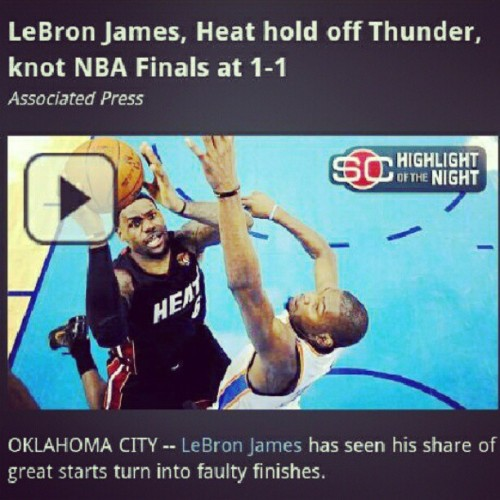 #Heat vs #Thunder just got interesting… #Finals | [Courtesy via @ESPN] (Taken with Instagram)