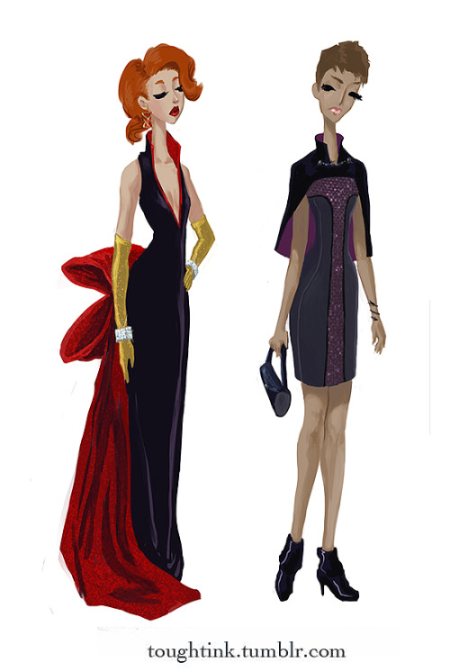 toughtink:  Black Widow and Hawkeye: the last of the main 6 avengers gowns! however, that is not the end. i'll be doing a loki and a fury next. :D click through for more info. Thor and Captain America, Iron Man and Hulk