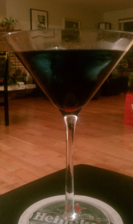I'm calling this drink a Diva Blood. You know, because it's blue and fabulous. Also, I put ice cubes in it even though they don't normally go inside…you know, like the Sacred Stones…inside the Diva…  Fifth Element, guys.