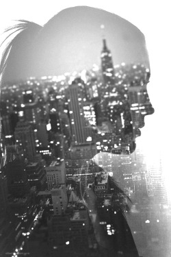 self lights Black and White city silhouette double exposure