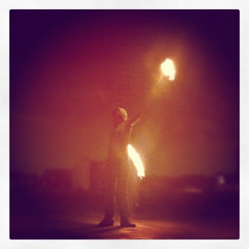 Fire dancing on the roofs of Brooklyn  (Taken with Instagram)