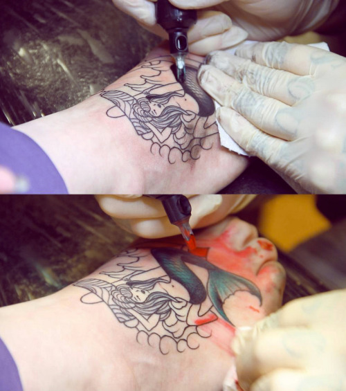 fuckyeahtattoos:  Getting My Mermaid Foot Tattoo by Mike Stockings of Legacy Ink, Haverhill, UK. I love her so much! Getting her finished very soon! See the video