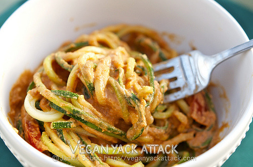 Raw Creamy Tomato Basil Pasta A delectably light summer meal of zucchini noodles entangled with a raw, creamy tomato basil sauce. Check out the recipe, plus how-to photos at Vegan Yack Attack!