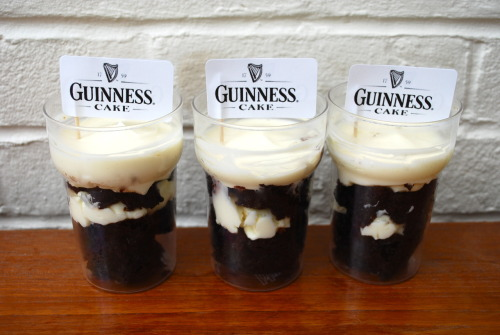 Individual Guinness cakes in little half-pint glasses